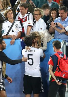#EURO2016 Mats Hummels of Germany and his wife Cathy Fischer celebrate the victory following the penalty shootout during the UEFA Euro 2016 quarter final match...