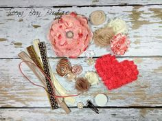 DIY Couture Headband Kit..... Coral, Taupe, and Cream...Baby Shower Game...Headband Kit...DIY Headbands...Baby Headbands