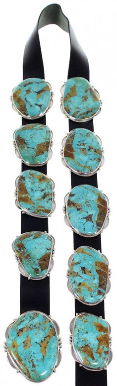 Native American Navajo Silver Kingman Turquoise Concho Belt DS55316-1