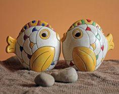 Soprammobile scultura in ceramica craquelé a forma di pesce