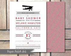 Vintage Airplane Baby Shower Invitation  by PaperPatchINK on Etsy, $13.00