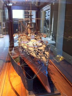 "A model of Imperial Japanese Navy dreadnaught ""Yashima"" in the British National Maritime Museum."