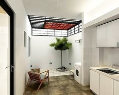 Small Home Remodel Designs Under 50 Square Meters - Di Home Design Outdoor Kitchen Design, Home Decor Kitchen, Home Kitchens, Patio Design, Garden Design, Laundry Room Design, Home Room Design, House Design, Laundry Area