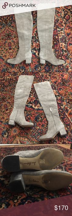 Sam Edelman Elina Over the Knee Boots Grey suede over the Knee Boots, super soft suede!! Only worn twice. Like new condition Sam Edelman Shoes Over the Knee Boots