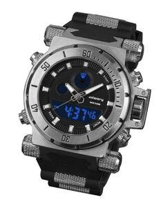 INFANTRY Mens Military Army Sport Stainless Steel Case Quartz Wrist Watch Black Rubber Strap