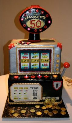 What a Cool Jackpot Cake! See more: http://www.internetbet.com/casino-cakes/slot-machine-cake #cakeideas #cakeart  #slotmachines