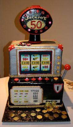 What a Cool Jackpot Cake! See more: http://www.internetbet.com/casino-cakes/slot-machine-cake #cakeideas #cakeart  #slotmachines