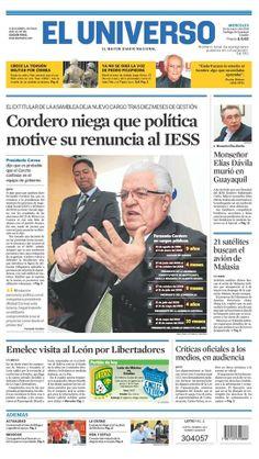 Portada de #DiarioELUNIVERSO del 19 de marzo del 2014. Las #noticias de #Ecuador y el mundo en: www.eluniverso.com
