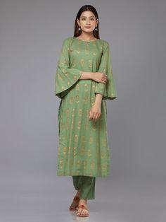 Green Block Printed Cambric Cotton Kurta with Pants - Set of 2 Salwar Designs, Kurti Neck Designs, Kurta Designs Women, Blouse Designs, Pakistani Dresses, Indian Dresses, Indian Outfits, Pakistani Suits, Indian Clothes