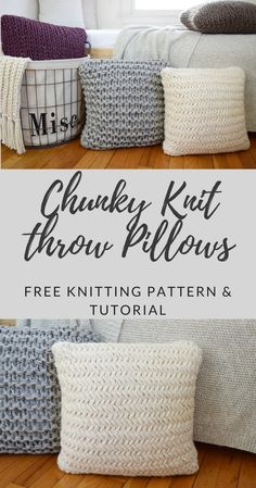 These super chunky throw pillows knit up in almost no time at all! Click for the free pattern and video tutorial from kniftyknittings.com!  #knitting #knittingpatterns #knittingtutorials