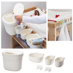 You can easily keep your nappy changing supplies organized and easy to find with these storage baskets in different shapes and sizes.The baskets save space as they hang on the edge of the changing table.You can choose to hang the waste bin on the edge of the changing table or stand it on the floor.The hooks give you a handy place for towels, washcloths or sleep suits. | eBay!
