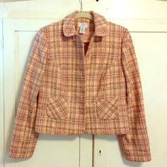 Ann Taylor LOFT Tweed Blazer Beautiful blend of pinks, peaches, plums, and neutrals. Snap style closures. Two pockets on front. Well loved and cared for with price accounting wear. Thanks for looking! 20% off bundles! LOFT Jackets & Coats Blazers