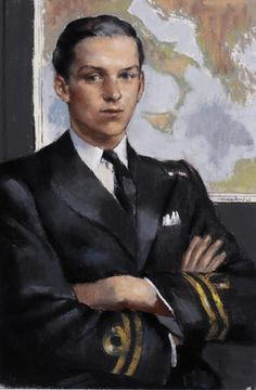 Lieutenant G G Marten, DSC, RN. A half-length portrait of Lieutenant G G Marten in uniform, sitting in front of a map with his arms crossed.