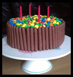 Chocolate fingers and smarties birthday cake