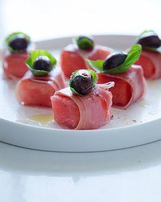 Watermelon Bites with Prosciutto, Olives and Basil www.MadamPaloozaEmporium.com www.facebook.com/MadamPalooza