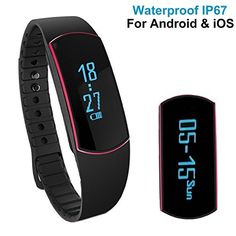 YAMAY® Waterproof Fitness Tracker Bluetooth Smart Wristband Bracelet Smartband Pedometer Calorie Counter Sleep Monitor Alarm Call Notification for Android iPhone Health Sports Running Swimming (Red) - http://www.exercisejoy.com/yamay-waterproof-fitness-tracker-bluetooth-smart-wristband-bracelet-smartband-pedometer-calorie-counter-sleep-monitor-alarm-call-notification-for-android-iphone-health-sports-running-swimming-r/fitness/