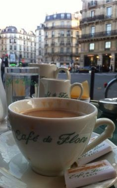 All one needs is a coffee @ Cafe De Flore in Paris Coffee In Paris, I Love Coffee, Coffee Cafe, Coffee Break, My Coffee, Morning Coffee, Coffee Shop, Coffee Lovers, Bar Kunst