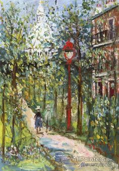 Maurice Utrillo: Square Saint-pierre and Sacrè-coeur, Montmartre Art Parisien, Maurice Utrillo, Art Français, Montmartre Paris, Paris Art, Post Impressionism, Monet, Oil Painting Reproductions, French Artists