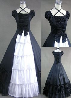 Black and White Cotton Gothic Victorian Style Dress