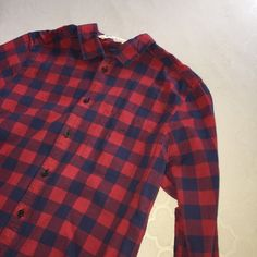 H&M Red Boys Flannel Shirt H&M Red Flannel Shirt with blue. Size L in kids which fits S in adults perfectly. Never worn at all completely new without tags. Nice top. Super soft material. H&M Tops Button Down Shirts