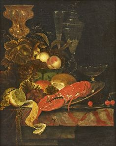 Ottmar Elliger the Elder (Swedish, 1633–1679) Title: Still life with lobster and fruits , 1665