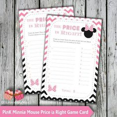 Pink Minnie Mouse Baby Shower game Price is Right