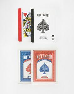 "Playing Card Notebook Couverture rigide Playing card design Pages unies H : 9,3 cm/4"". L : 6,5 cm/2"". Lot de deux"
