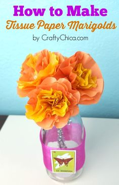 For this Tissue Paper Marigolds DIY tutorial, I set aside my DSLR camera to try out the Samsung Galaxy Active. Very nice results! Tissue Paper Flowers, Diy Flowers, Flower Crafts, Fabric Flowers, Mason Jar Diy, Mason Jar Crafts, Homemade House Decorations, Paper Pom Poms, Tulle Poms