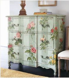 Blue painted vintage dresser with decoupaged botanical rose prints - so pretty!! #furniture #decor #diy