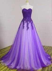 Beautiful Sweetheart Purple Tulle Ball Gowns, Evening Gowns, Prom Dresses for Junior color, Rush Order is available, and no extra cost Custo Pretty Prom Dresses, Sweet 16 Dresses, Cute Dresses, Quince Dresses, Ball Dresses, Beaded Dresses, Dresses Dresses, Bridesmaid Dresses, Ball Gowns Evening