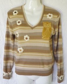 3d89b254799 Vintage Upcycled Sweater Owl Applique Crochet Flower Buttons Striped M  Beige Tan  Handmade  VNeck