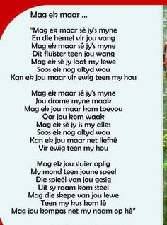 Mag die skepe van jou lewe teen my kus kom lê. Mag jou komas net my naam op hê. Lyric Quotes, Qoutes, Afrikaans Language, Love Is Cartoon, Beautiful Verses, Afrikaanse Quotes, Friendship Poems, Employee Gifts, Affirmations