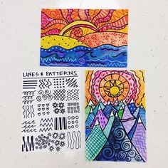 Second grade started these yesterday. They were a big hit last year, so I'm… Second grade started these yesterday. They were a big hit last year, so I'm… Line Art Lesson, 3rd Grade Art Lesson, Art Lesson Plans, Grade 3 Art, Grade 2, Line Art Projects, School Art Projects, Square 1 Art, Ecole Art