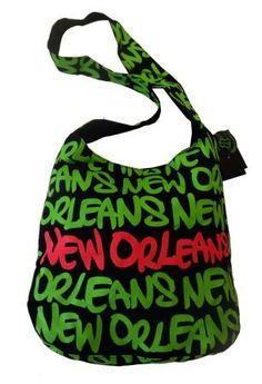 68eaf212f6 Black, Green & Fuschia New Orleans Neon Round Bag|Robin Ruth Store Round Bag