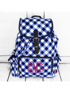 www.ewam.com Navy and White Diamond Gingham Large Backpack