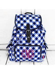 www.ewam.com Navy and White Diamond Gingham Large Backpack