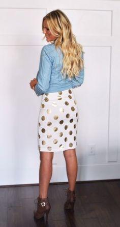 White and Gold polka dot pencil skirt | Jane