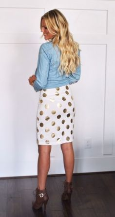 White and Gold polka dot pencil skirt | Jane