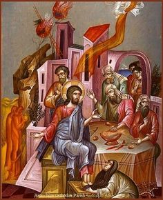 The artwork clearly shows the story of George Kordis, the Anointing of the Lord's Feet at Simon's House, which is also found in the Byzantine scriptures. Religious Images, Religious Icons, Religious Art, Byzantine Icons, Byzantine Art, Christian Artwork, Orthodox Icons, Sacred Art, Postmodernism