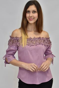 Blusa Rumbera Con Encaje Lila – Maju Vogue Kids Frocks Design, Diy Clothes, Clothes For Women, Frock Design, Fashion Outfits, Womens Fashion, Fashion Tips, Dress Patterns, Pretty Dresses