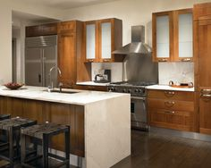 Frosted Glass Cabinet Kitchen Contemporary with Beige Tile Floor Pendant Lights