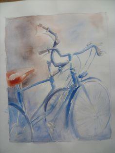 2016 bicyclette tableau peinture aquarelle