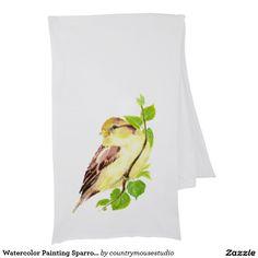 Aquarell-Malerei-Spatzen-Vogel im Baum Wickelschal