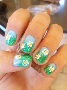 here are my april showers bring may flowers nails!...