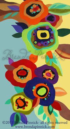 "Poppies #2 by Brenda Pinnick  http://www.brendapinnick.com  24"" x 48"" acrylic on canvas"