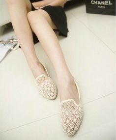 2014 春 新作 レディース フラット フラットシューズ サンダル かぎ編みレース シューズ Flat-Shoes-lace-001W