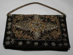 Vintage Purse  Silver and Gold Beaded Evening by ilovevintagestuff