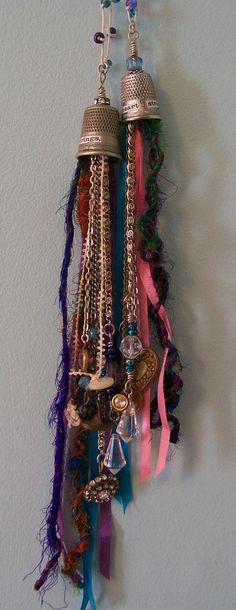 https://flic.kr/p/9VzUFS | Heart Strings thimble necklaces | Necklaces using vintage thimbles, beads, buttons, baubles and fibres.