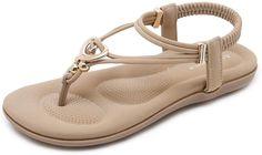 BEIGE 6  Alicegana Women's Summer Sandals Bohemian Walking Strap Casual Flip Flops Ladies Beach Sexy Flats Comfortable Shoes | Flats