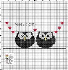 .Owls & hearts crossstitch